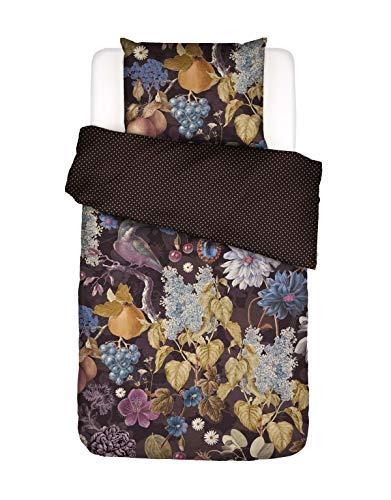 ESSENZA Bettwäsche Veronique Blumen Baumwollsatin Aubergine, 135X200 + 1X 80X80 cm