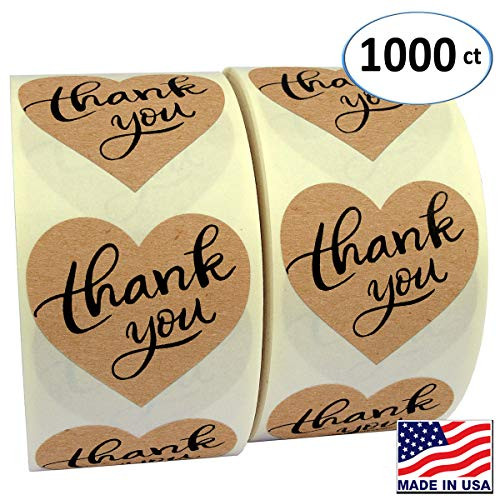 "1.5"" Heart Shape Kraft Paper Thank You Adhesive Label, 1000 Stickers per Roll, Love Shape, 1-1/2 Inch"