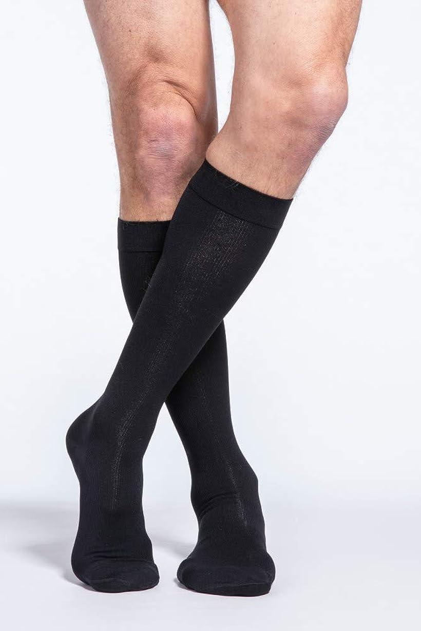 列車薄いマオリSigvaris Men's Cotton Ribbed Knee High Socks 20-30mmHg Closed Toe Long Length, Large Long, Black by Sigvaris