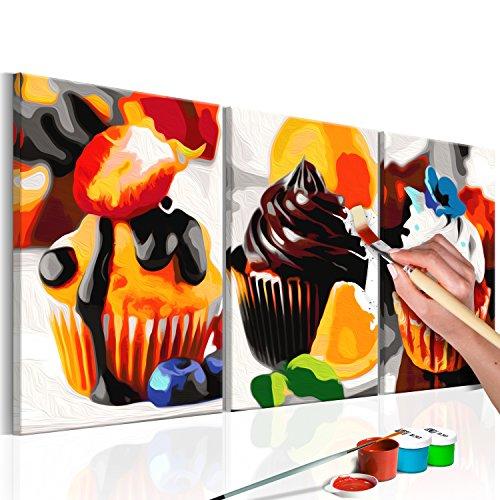 murando Pintura por Números Cuadros de Colorear por Números Kit para Pintar en Lienzo con Marco DIY Bricolaje Adultos Niños Decoracion de Pared Regalos - Magdalenas 60x30 cm DIY n-A-0217-d-e