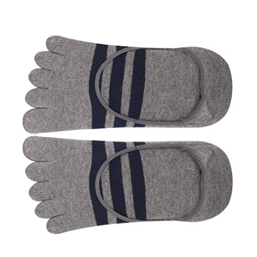 HaiDean Footful Streifen Baumwolle Five Fingers Zeh Lässig Modernas Socken Socke Unsichtbar Für Männer Nner Gestreift Finger Zehensocken (Color : Grau, Size : One Size)