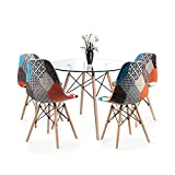 Round Dining Table and Chair Set of 4, Coffee Table with Wood Leg for Dining Room Living Room Kitchen (Glass Table+4*Patchwork Blue Chairs)