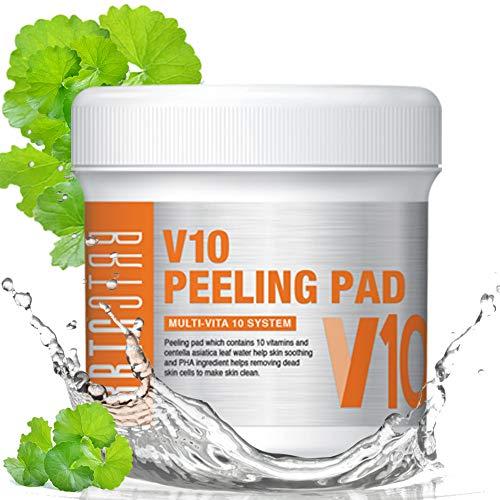 BRTC V10 Peeling Pad (80 Tücher), 10 Vitamine & Centella Asiatica Leaf Water Hilfe bei Hautberuhigung und Pha hilft beim Entfernen von abgestorbenen Hautzellen (150 ml) - 80 Count