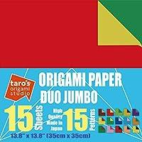 【太郎の折り紙スタジオ】 ジャンボデュオ 両面 スタンダード 35cm 紙15色変化柄 15枚 (日本製)