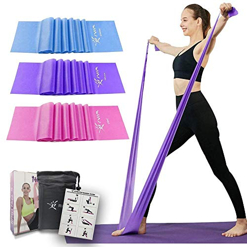 Therapy Flat Resistance Bands Set, Exercise Stretch Bands for Stretching, Flexibility, Pilates, Yoga, Ballet, Gymnastics and Rehabilitation (3 Set - 150cm Length)