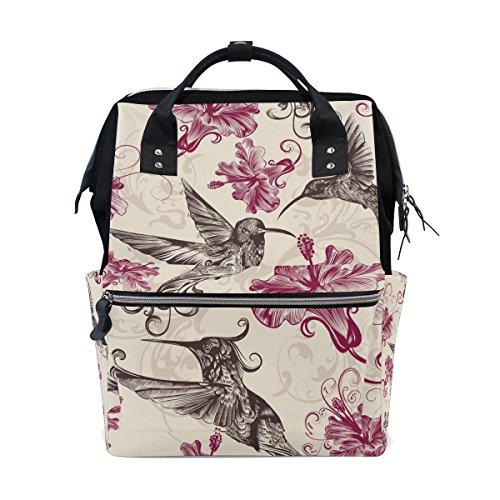 tizorax Kolibris Floral Windel Rucksack Große Kapazität Baby-Bag Multifunktions-Wickeltaschen Mom Rucksack Reisen für Baby Care