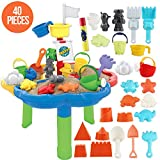 deAO 40 Pieces Sand and Water Outdoor Activity Table Play Set for Children with Water Blaster and Assorted Accessories Included