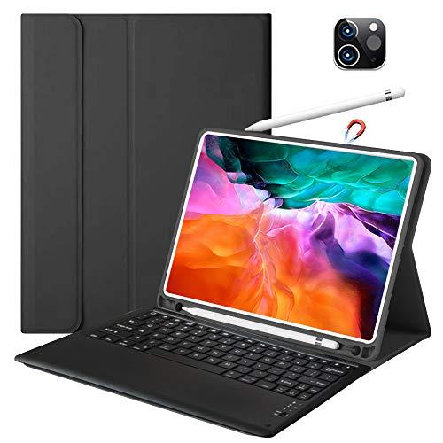 Custodia con tastiera per iPad Pro 12.9 2021 con tastiera per iPad Pro 12.9 pollici 4th Gen Wireless Ricaricabile BT Slim Folio Custodia in pelle con supporto per matita Apple Pencil Charging (nero)