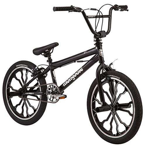 Mongoose Rebel Kids BMX Bike, 20-inch mag Wheels, Ages 7-13, Black