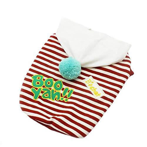 HXF Wygoda pies cienkie ubrania letnia futrzana kula w paski kamizelka miś bichon sznaucer VIP zwierzę domowe pomorskie ubrania małe (kolor: Czerwony, rozmiar: Xs)