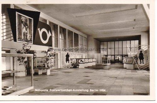 Postkarte. Nationale Postwertzeichen-Austellung Berlin 1954