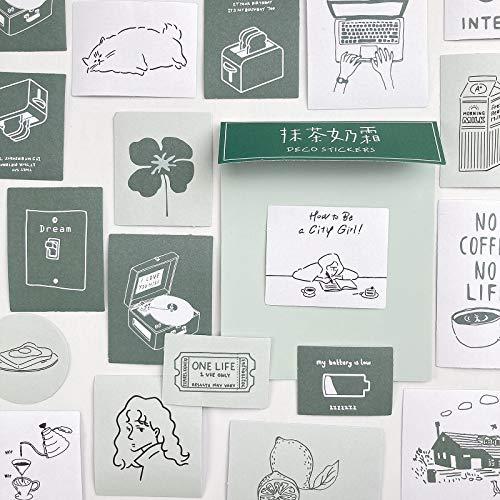 TNYKER シール フレークシール 手帳ステッカー 手描き イラスト 韓国風 スケジュール 手帳 ノート 手紙 カレンダー シンプル おしゃれ かわいい 60枚セット みどりver.1