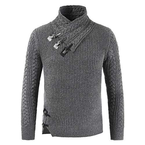 Suéteres para Hombre Otoño e Invierno Medio Cuello Alto Hebilla de Cuero Suéter de Manga Larga Modificado Suéter de Cuello Alto con Dobladillo Irregular