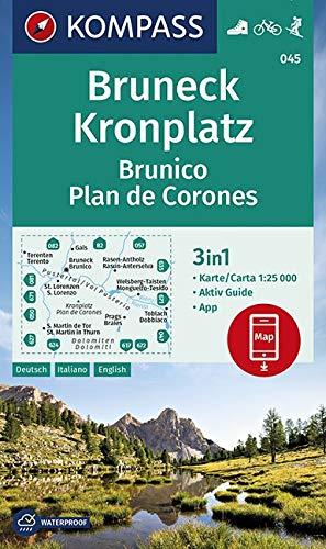 Carta escursionistica n. 045. Brunico, Plan de Corones-Bruneck, Kronplatz 1:25.000: 3in1 Wanderkarte 1:25000 mit Aktiv Guide inklusive Karte zur ... in der KOMPASS-App. Fahrradfahren. Skitouren.