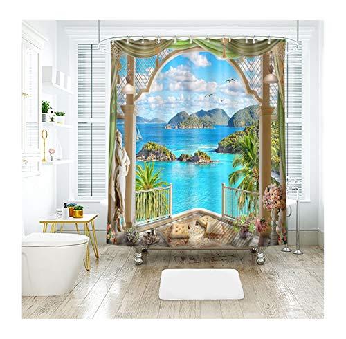AueDsa Duschvorhang Polyester Duschvorhang Wasserdicht Waschbar Blauer Himmel und Wolken außerhalb des Fensters Blau Grün Duschvorhang Schimmelresistent 180x180CM
