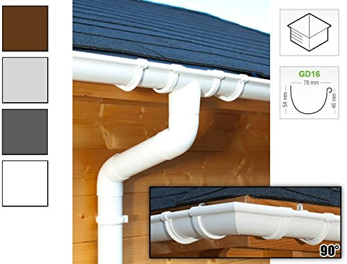 Dachrinnen/Regenrinnen Set | viereckiges Dach (4 Seiten) | GD16 | in anthrazit, weiß, braun oder grau! (Umriss bis 17.50 m (Kompl. Set), Weiß)