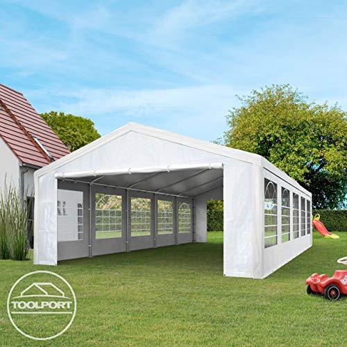 TOOLPORT Partyzelt Pavillon 4x8 m in weiß 180 g/m² PE Plane Wasserdicht UV Schutz Festzelt Gartenzelt - 3