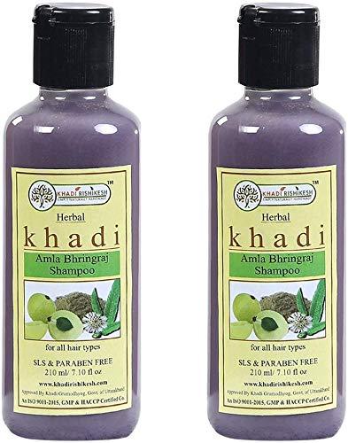 Glamorous Hub Khadi Rishikesh Herbal Amla Bhringraj Shampoo Combo Set Paquete De 2 X 210 Ml (420 Ml) (El Embalaje Puede Variar)