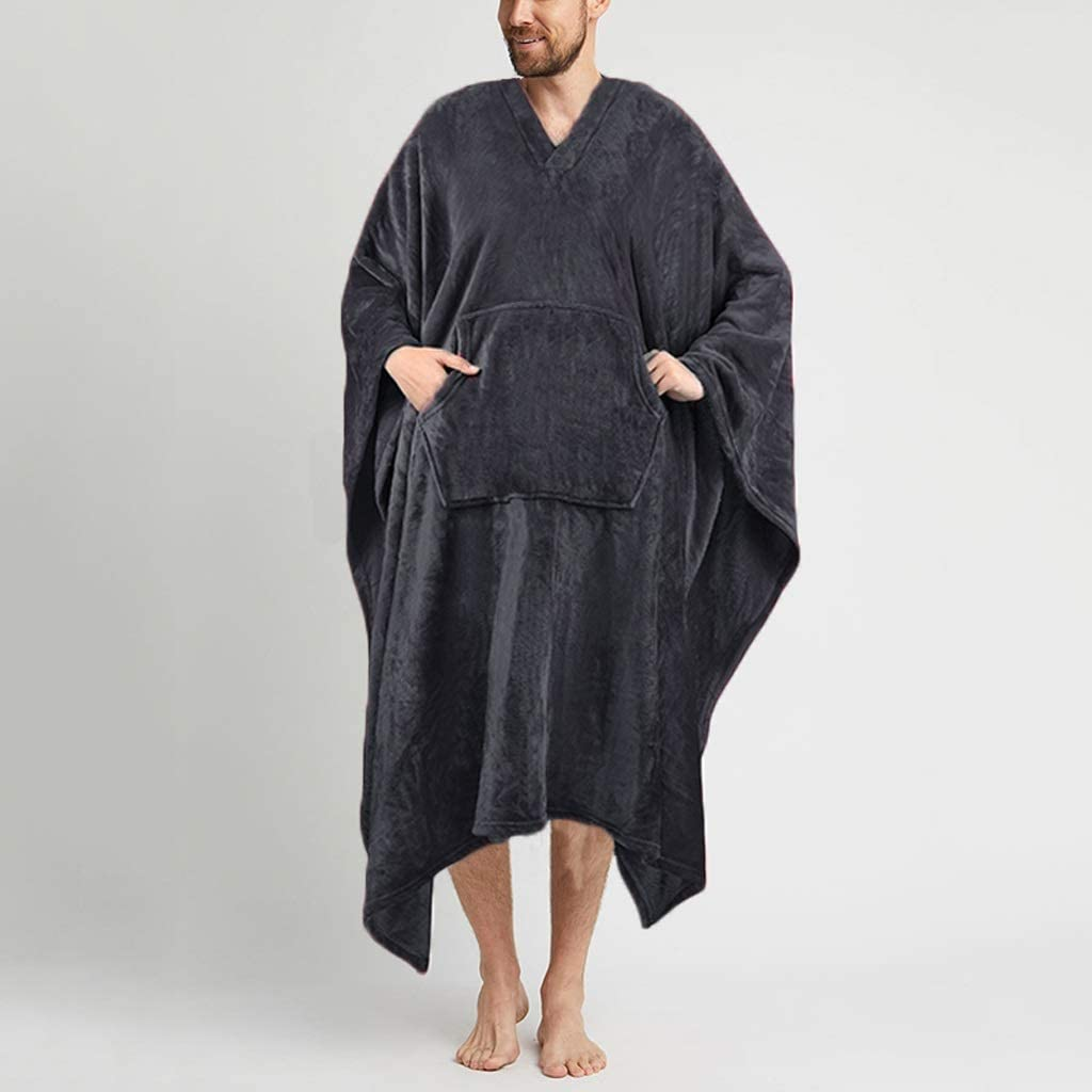 CUJUX Men Sleep Robes Fleece Solid Color V Neck Leisure Ponchos Homewear Soft Cozy Loose Men Cloak Nightgown Bathrobes (Color : Gray, Size : X-Large)