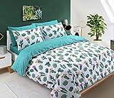 Sleepdown Tropical Cactus Bettwäsche-Set für Einzelbetten, Baumwolle, weiß