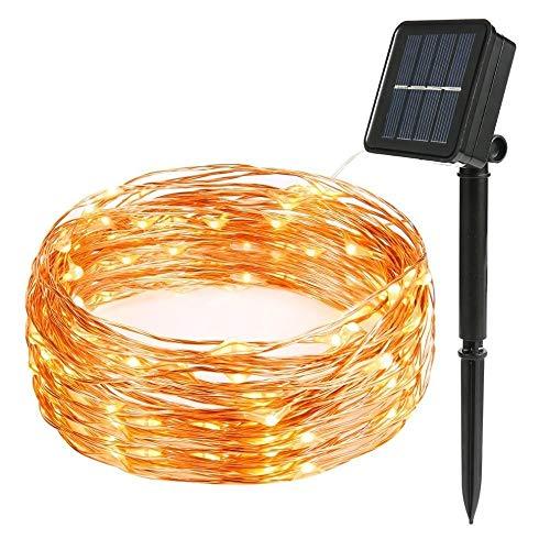 No-Branded WUFAJINWU Solar LED lámpara de la Secuencia 8mode luz de Hadas de Las Luces de Navidad 12m del Banquete de Boda de Alambre de Cobre 100LED decoración de la lámpara Garland