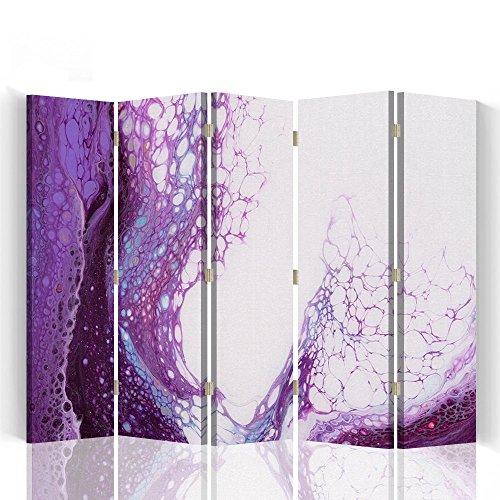 Feeby Paravent 5 Panneaux Imprimé 1 Face Abstraction Violet 180x180 cm