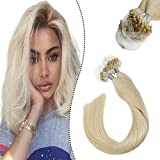 Ugeat 24Pouce/60cm Beads Hair Blond Platine Anneau Extension de Cheveux Easy Loops Micro Ring Meches Naturelles a Froid 50Gramme/Set 1G/S