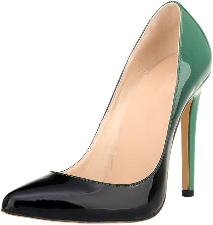Meijunter Women Gradient color Party Club High Heels shoes Stilettos Pointed Pumps shoes Green