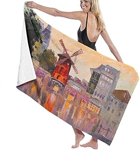 Toalla de Playa Grande 80x130cm,Moulin Rouge París Francia ,Toalla Microfibra,Suave,Absorbente Viaje Toallas de Mano de Hombres,Niños,Natación,Playa,Camping