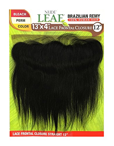 ModelModel Nude Leaf Unprocessed Brazilian Virgin Remy Human Hair Weave 13X4 Lace Frontal Closure Straight (12', NATURAL)