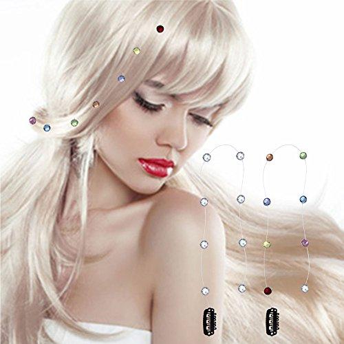 AAHB Haar Clip - In Extension Hairextensions Clips Strähnen Toupet Kämmchen Metallclips Strass 8 Strasssteine (Kristall Strasssteine)