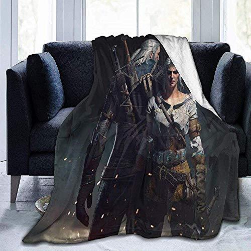 The Witcher Wild Hunt Art Bilder Flanelldecke Weiche und Bequeme warme Decke, die für Schlafsofa-Reisedecke geeignet ist