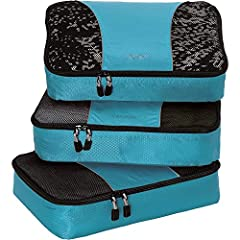 IINCLUDES 3 PACKING CUBES: Dimensions are 13.75 x 9.75 x 3; great for folded dress shirts, jeans, t-shirts etc. SUPERIOR QUALITY: Highest construction standards utilized, making it a customer-favorite, packing cube of choice. Includes premium self-he...