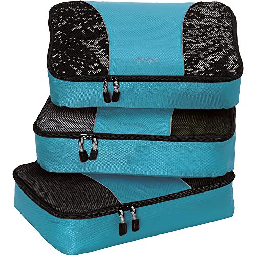 eBags Medium Packing Cubes for Travel - 3pc Set - (Aquamarine)