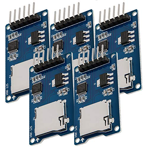 AZDelivery 5 x Modulo Lettore SPI Reader Micro Scheda SD TF Memory Card Shield per Arduino con eBook