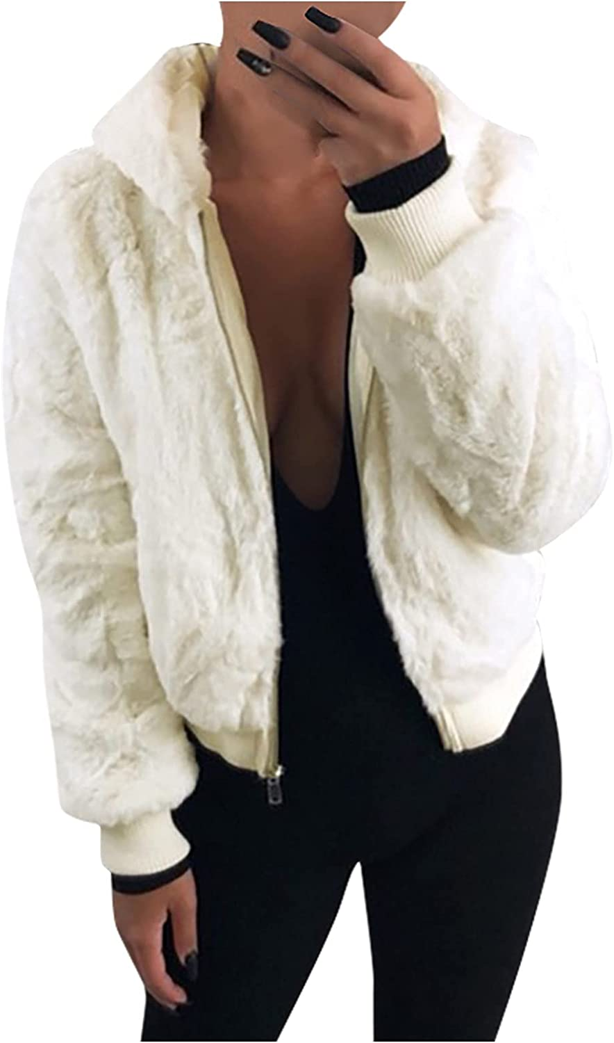 Winter Limited Special Price Coats Daily bargain sale Women Zip up Fleece Hooded Long Crop Sleeve Pockets