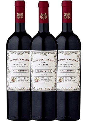 3er Paket - Doppio Passo Primitivo Salento IGT CVCB | halbtrockener Rotwein | italienischer Wein aus Apulien | 3 x 0,75 Liter