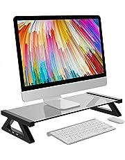 エルゴノミクスデザイン モニター台 デスクボード USBポート付き ガラス天板 キーボード収納 机上 卓上