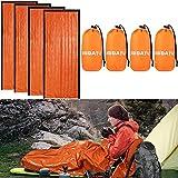 DIBBATU Emergency Survival Sleeping Bag, Thermal Bivy Sack Blanket, Waterproof Lightweight, Mylar Portable Nylon Sack for Camping Hiking Outdoor Adventure Activities (orange-004)