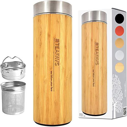 amapodo Thermosflasche Teamaker doppelwandig 500ml Thermo Trinkflasche mit Edelstahl Tee...