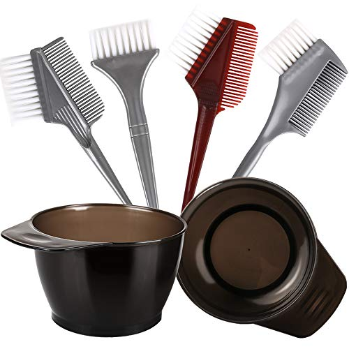 Hair Color Brush and Bowl Set, YGDZ Hair Dye Brush and Bowl Set, 4pcs Dye Applicator Brush & Comb, 2pcs Color Mixing Bowls, Professional Salon Tint Tools