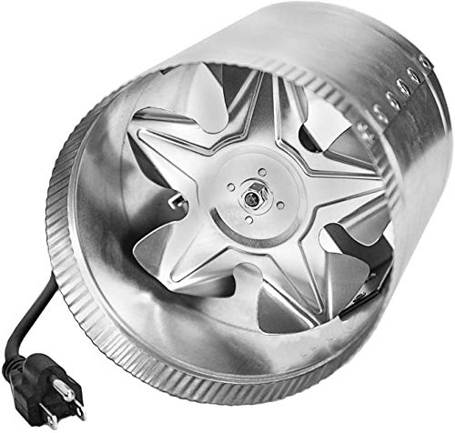 iPower 4 Inch 100 CFM Booster Fan Inline Duct Vent Blower for HVAC Exhaust and Intake 5.5' Grounded Power Cord, Low Noise, Silver