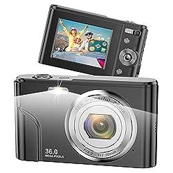 Fotocamere Digitali Compatte 1080P HD Macchina Fotografica 36 Megapixel 2,4 Pollici LCD Ricaricabile Vlogging Mini Video Fotocamer Digitale Zoom Digitale 16x per Adulti, Adolescenti, Bambini(Nero)
