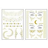 2 tatuajes temporales para pegar en la piel a prueba de agua con purpurina metálico, adhesivo para la cara dorado para la cara,tatuajes adhesivos tatuajes para adultos mujer niñas mujeres fiestas