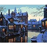 LLXPDZ Bricolaje hecho a mano digital pintura al óleo set decoraciones de regalo para adultos ni?os principiantes amantes de la pintura Escena de nieve pequeña ciudad Sin marco 40x50cm