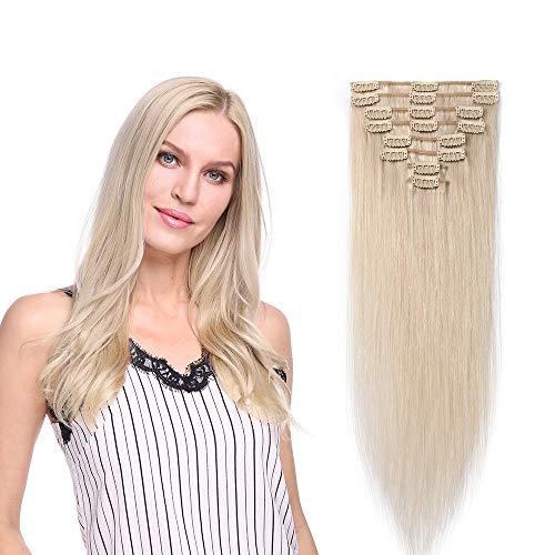 Extension a Clip Cheveux Naturel Type Fin - Rajout Vrai Cheveux Humain - 8 Bandes (#70 Blanc, 25 cm (50 g))