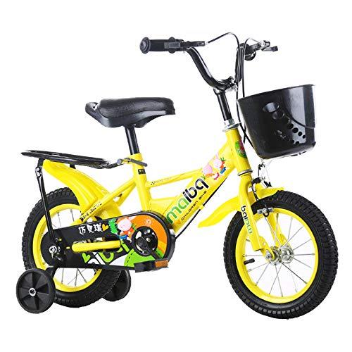 Girls Kids Bike 12 14 16 18 Inch Bicycle 3-9 Years Old Basket Training Wheels Kids Bike Boys Girls Freestyle Bicycle,Yellow,18 in