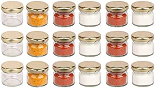 Pure Source India Very Small Glass Jar Set Of 18 Pcs Coming With Metal Golden Color Air Tight And Rust Proof Cap , Capacit...
