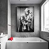 HSFFBHFBH Arte de la Pared Pintura de la Lona Mujeres Atractivas Modernas Blanco y Negro Beber y Fumar Belleza Chica Impresiones Barra de Inodoro Decoración para el hogar 40x55cm Marco Interior