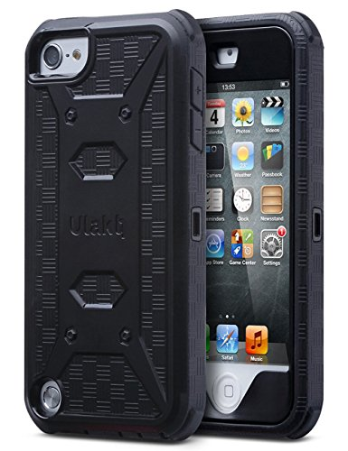 ULAK iPod Touch 7th Generation Case, iPod Touch 6 Case, Full Body withScreen Protector, Belt Clip Holster Kickstand Heavy Duty Shockproof Protective Bumper Cover for iPod Touch 5/6/7, Black